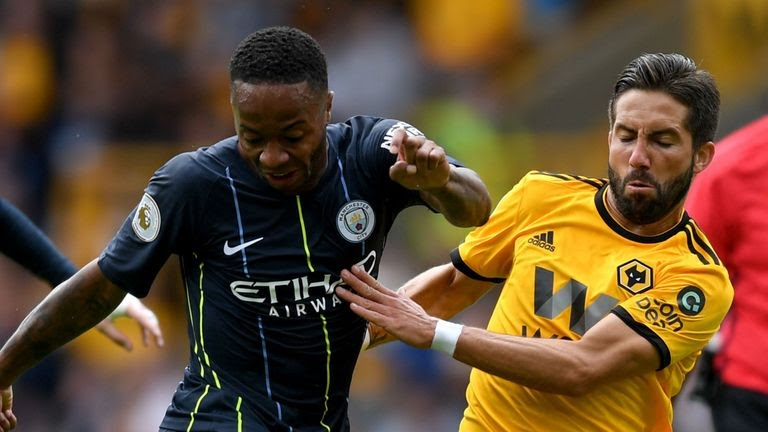Raheem Sterling of Manchester City shoots and misses during the Premier League match between Wolverhampton Wanderers and Manchester City at Molineux on August 25, 2018 in Wolverhampton, United Kingdom.